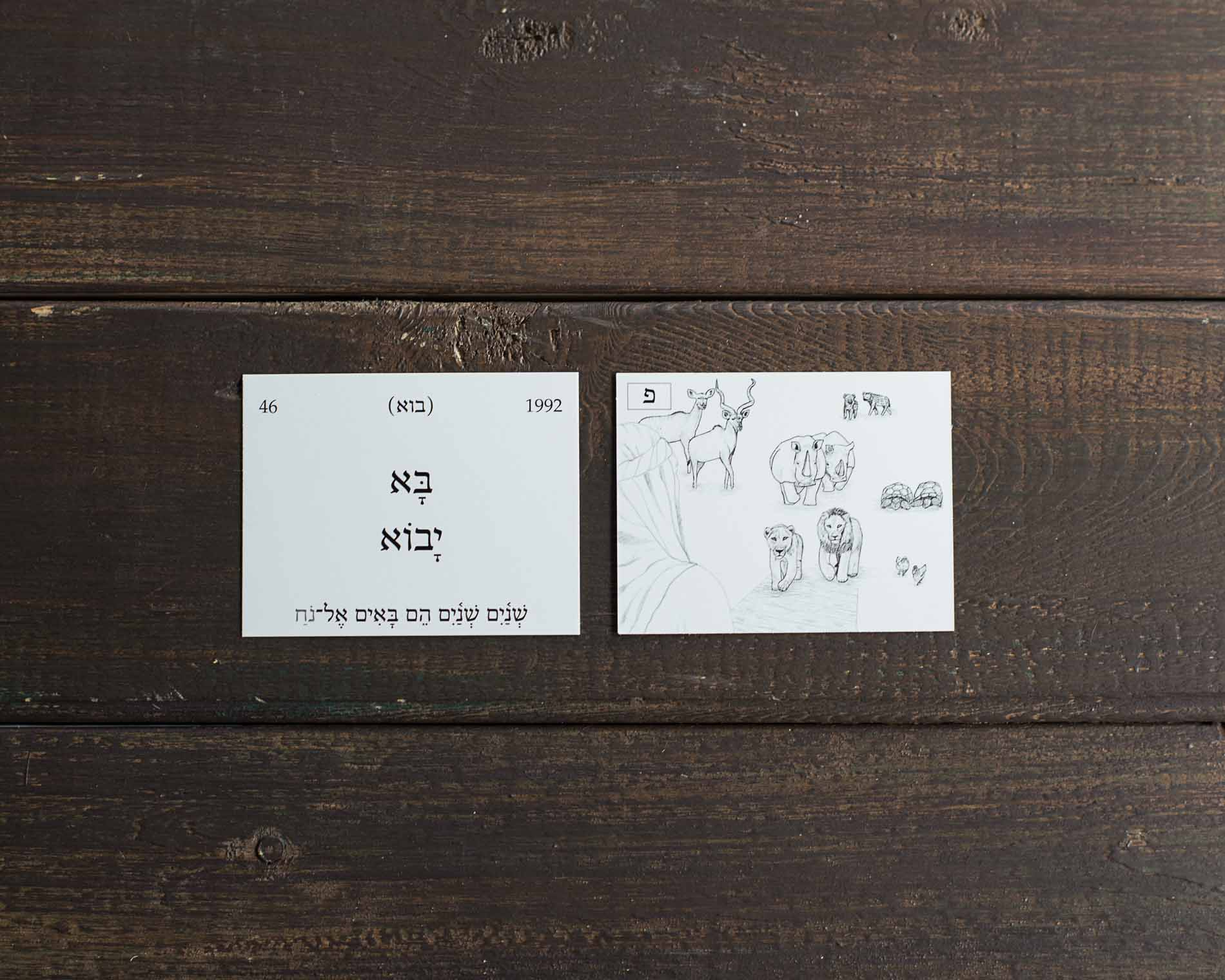 Picture Hebrew Flashcard Illustrations on wooden table